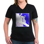 Snowboarding Pop Art Women's V-Neck Dark T-Shirt