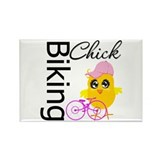 Biking Chick Rectangle Magnet