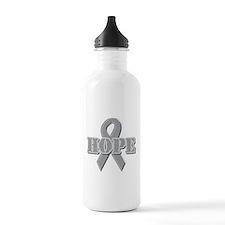 Silver Hope Ribbon Water Bottle