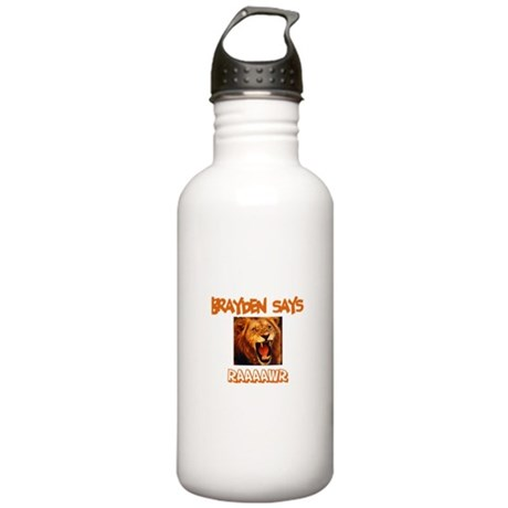 Brayden Says Raaawr (Lion) Stainless Water Bottle