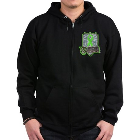 Lymphoma Cancer Survivor Zip Hoodie (dark)