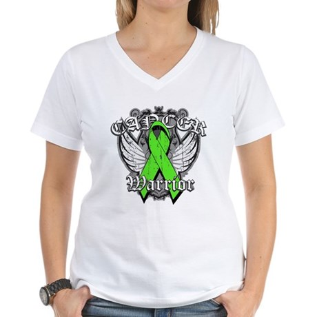 Lymphoma Cancer Warrior Women's V-Neck T-Shirt