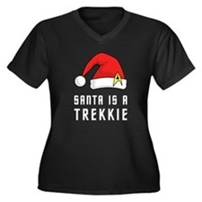 Santa is a Trekkie Women's Plus Size V-Neck Dark T
