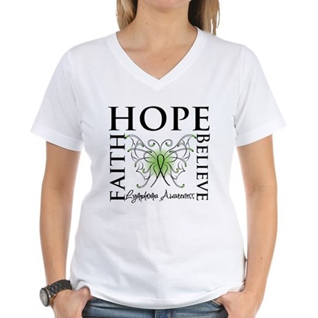 Faith Hope Lymphoma Women's V-Neck T-Shirt