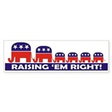 Raising 'Em Right! Bumpersticker (4 kids)