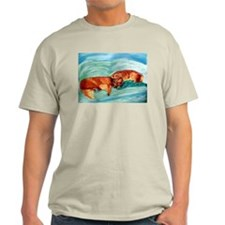 Two Goldens Nap Time Ash Grey T-Shirt