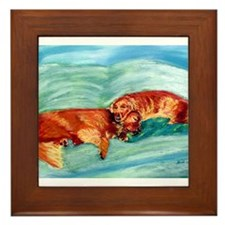 Two Goldens Nap Time Framed Tile