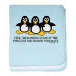 Burning Stare Penguins baby blanket