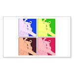 Snowboarding Pop Art Sticker (Rectangle 50 pk)