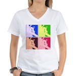 Snowboarding Pop Art Women's V-Neck T-Shirt