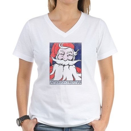 Vintage Merry Christmas Womens V-Neck T-Shirt