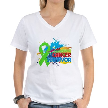 Colorful - Lymphoma Survivor Women's V-Neck T-Shir
