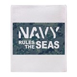 Navy Rules Blue Camo Throw Blanket