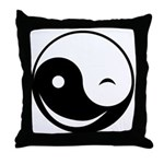 Winky Yin Yang Throw Pillow