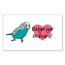 Blue Budgerigar On Board Rectangle Decal