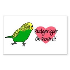 Budgerigar On Board Rectangle Decal