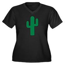 Cactus Women's Plus Size V-Neck Dark T-Shirt