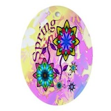 Spring Flowers Oval Ornament