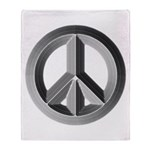 Silver Peace Sign Throw Blanket