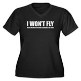 I won't fly Women's Plus Size V-Neck Dark T-Shirt