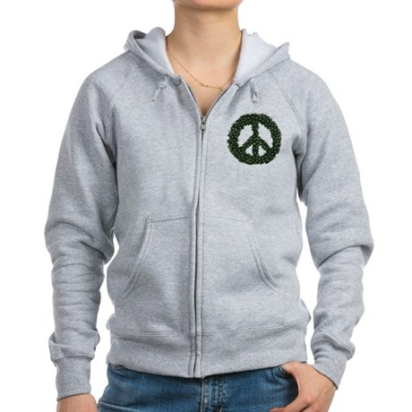 Peace Wreath Womens Zip Hoodie