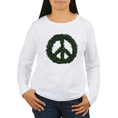 Peace Wreath Womens Long Sleeve T-Shirt