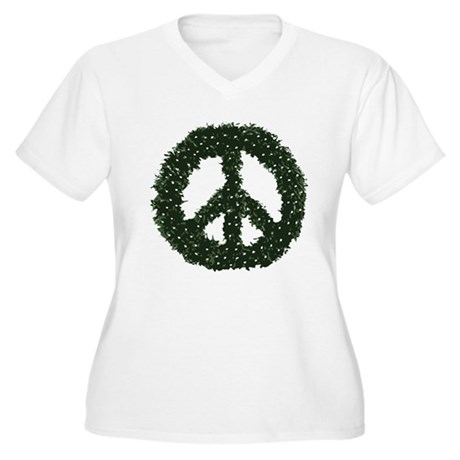 Peace Wreath Plus Size V-Neck Shirt