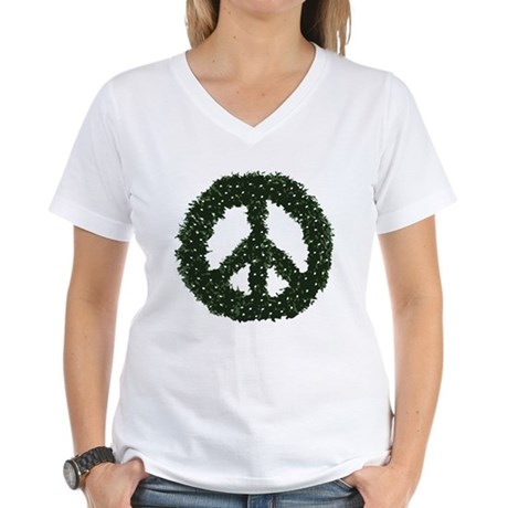 Peace Wreath Womens V-Neck T-Shirt