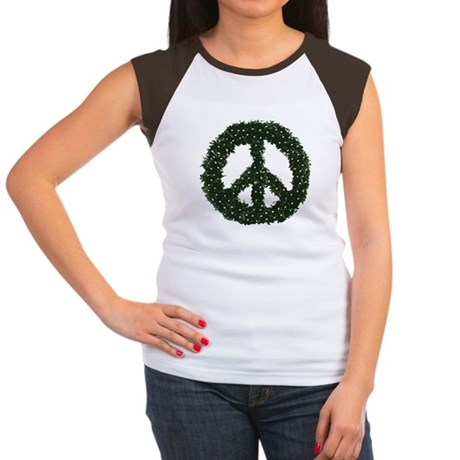 Peace Wreath Womens Cap Sleeve T-Shirt