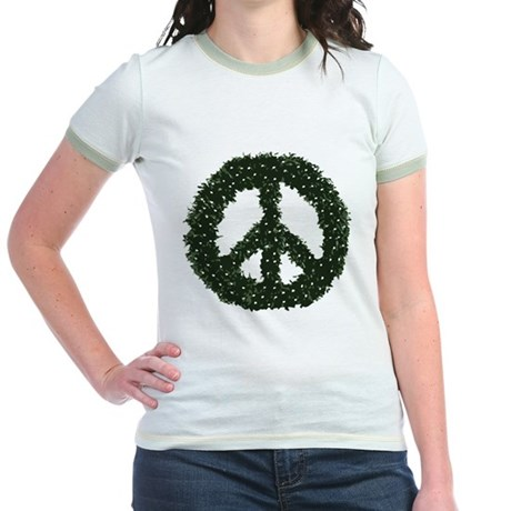 Peace Wreath Jr Ringer T-Shirt