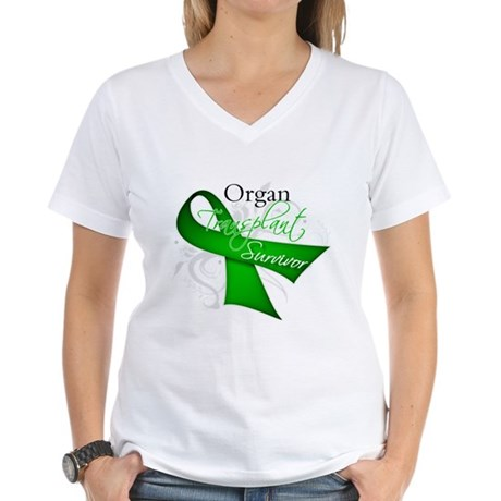 Organ Transplant Survivor Women's V-Neck T-Shirt