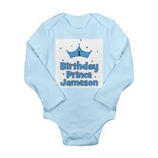1st Birthday Prince Jameson! Long Sleeve Infant Bo