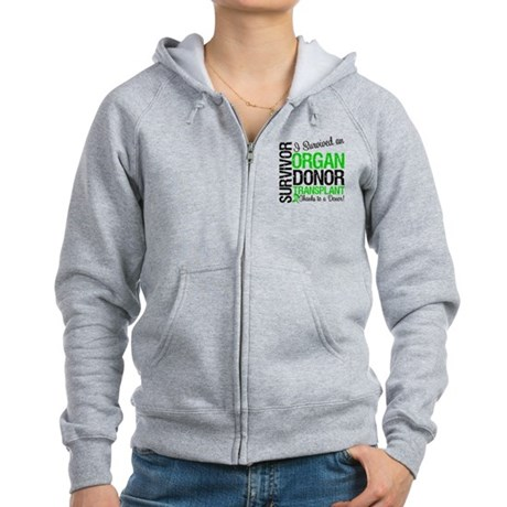 I Survived Organ Transplant Women's Zip Hoodie