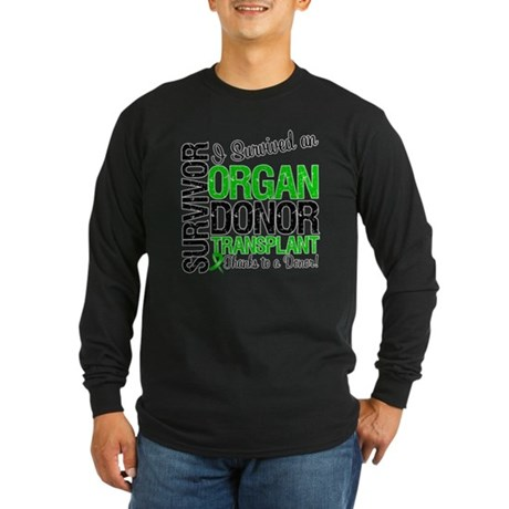 I Survived Organ Transplant Long Sleeve Dark T-Shi
