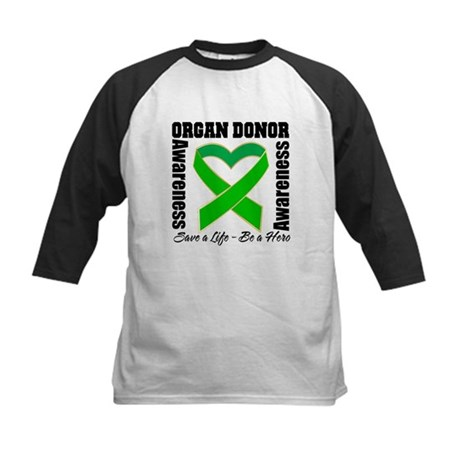 Heart Organ Donor Awareness Kids Baseball Jersey