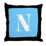 Blue Alphabet Blocks Throw Pillow - N