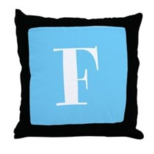 Blue Alphabet Blocks Throw Pillow - F