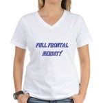 Full Frontal Nerdity Women's V-Neck T-Shirt