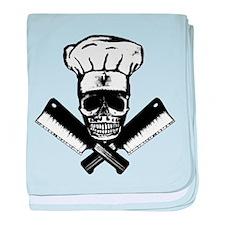 Chef Skull--B&W-- baby blanket