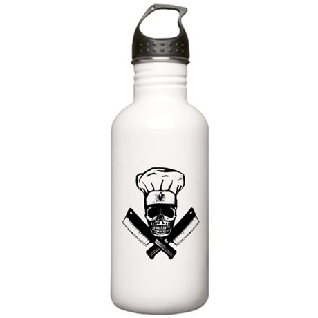 Chef Skull--B&W-- Stainless Water Bottle 1.0L