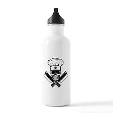 Chef Skull--B&W-- Water Bottle