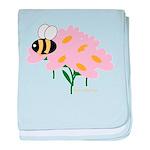 Triplet Bee Pink Flowers baby blanket