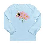 Triplet Bee Pink Flowers Long Sleeve Infant T-Shir