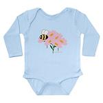 Triplet Bee Pink Flowers Long Sleeve Infant Bodysu