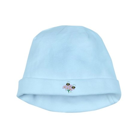 Twin Bees on Flowers baby hat