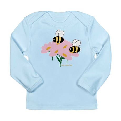Twin Bees on Flowers Long Sleeve Infant T-Shirt