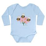 Triplet Bees Long Sleeve Infant Bodysuit