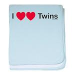 I Love Twins baby blanket