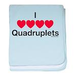 I Love Quadruplets baby blanket