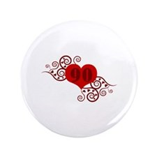 "90th Birthday Fancy Heart 3.5"" Button (100 pack)"